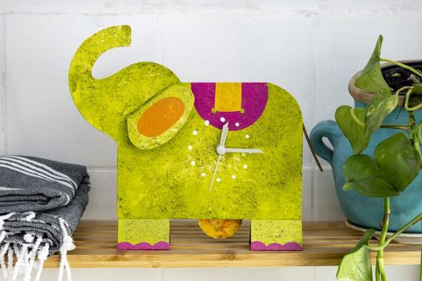 Tischuhr Kinderzimmer Elefant grün
