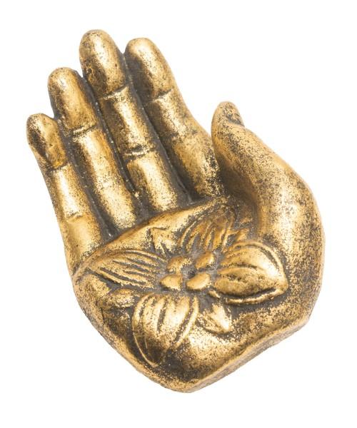 Räucherstäbchenhalter Hand golden, Stein