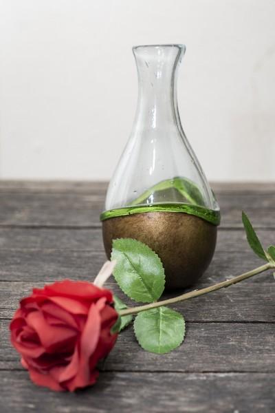 Glas Vase grün gold