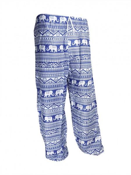 Stoffhose mit Elefantendruck, blau/weiß