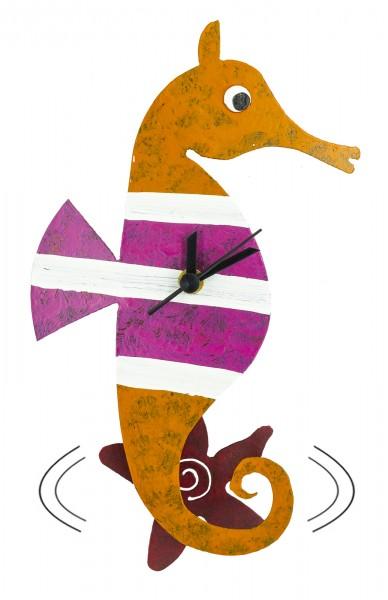 Wanduhr Seepferdchen orange Pendeluhr