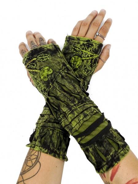 Armwärmer Tie-Dye mit Cut-Out, grün