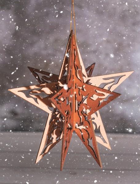 Baumschmuck 3D Stern Holz, kupferfarbig