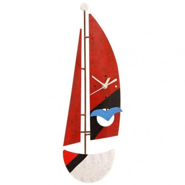 Wanduhr Segelboot, rot mit Vogel