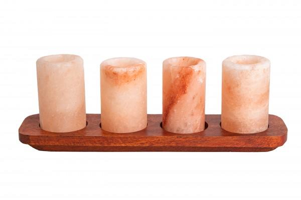 Schnapsgläser 4er Set aus rosa Steinsalz mit Tablett