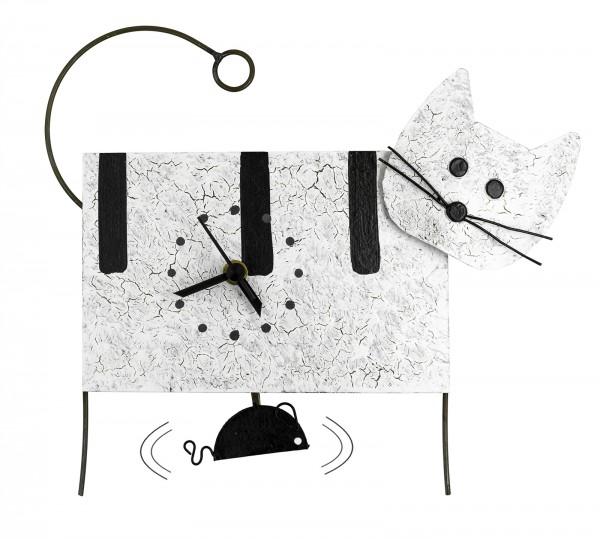 Wanduhr Katze und Maus, weiß mit Streifen