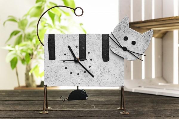 Tischuhr Katze und Maus weiß Los Oxidos