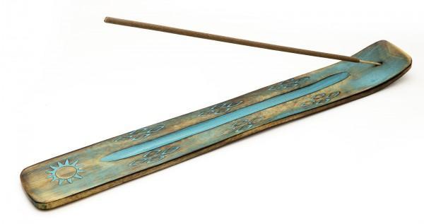 Räucherstäbchenhalter Holz blau