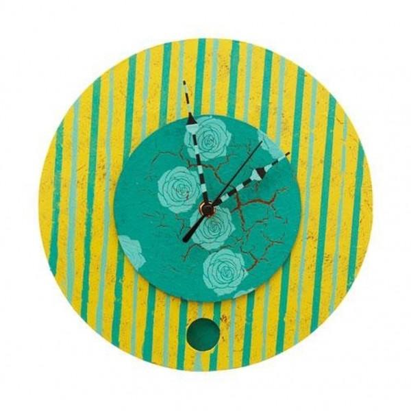 Wanduhr rund, grün/ türkis