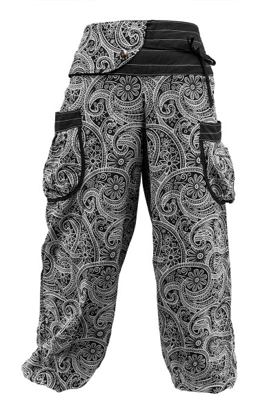 aladinhose mit paisley muster schwarz wei kailash shop. Black Bedroom Furniture Sets. Home Design Ideas