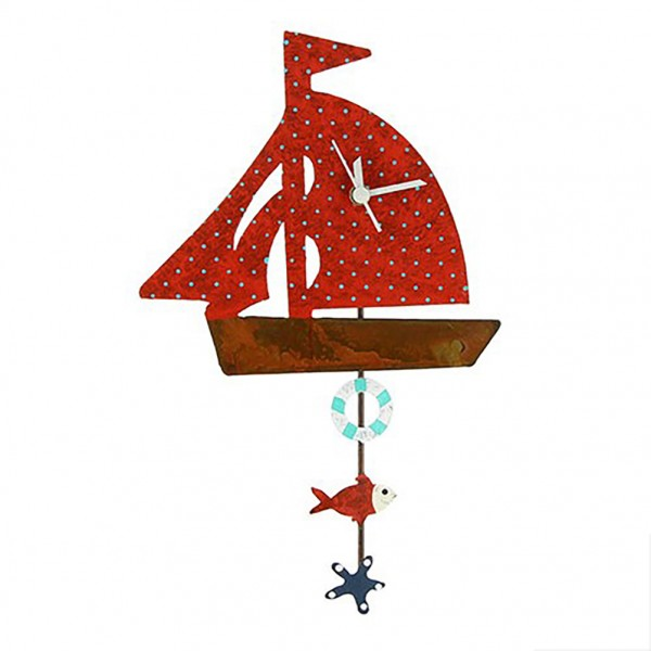 Wanduhr Boot, rot mit langen Pendel