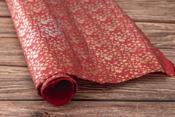 handgeschöpftes Geschenkpapier, Sternenregen rot-metallic