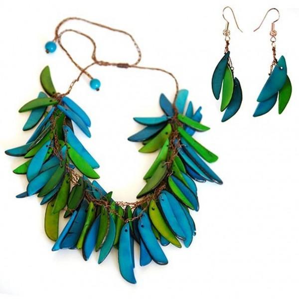 Schmuck-Set aus Tagua, blau/grün