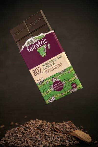 fairafric Bio Zartbitterschokolade Fleur de Sel 80% 80g