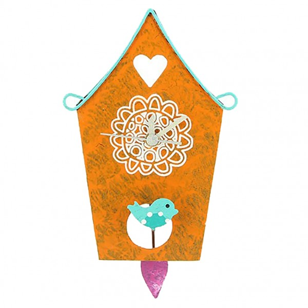 Wanduhr Vogelhäuschen, orange mit Mandala und Vögelchen