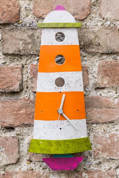 Wanduhr Leuchtturm, orange