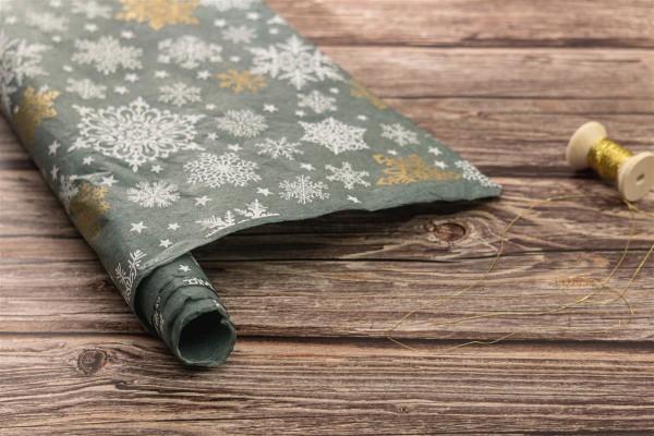 handgeschöpftes Geschenkpapier, Schneeflocken eisblau-weiß-gold