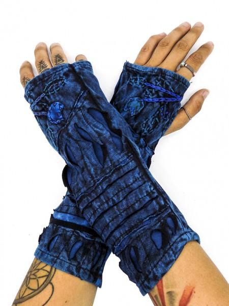 Armwärmer Tie-Dye mit Cut-Out, blau