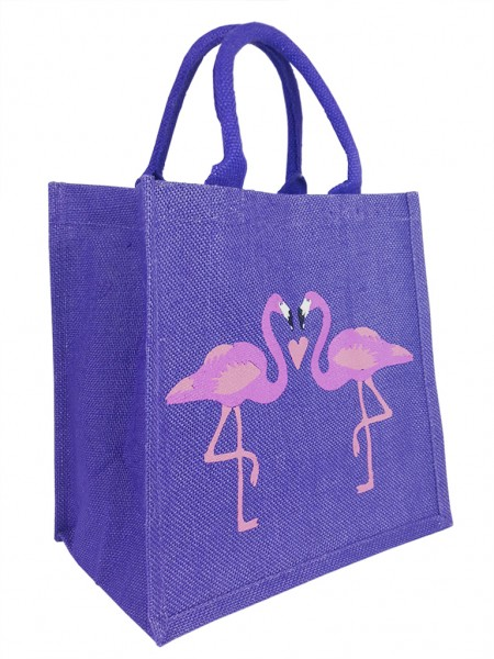 "Jutetasche ""Kissing Flamingos"" Design"