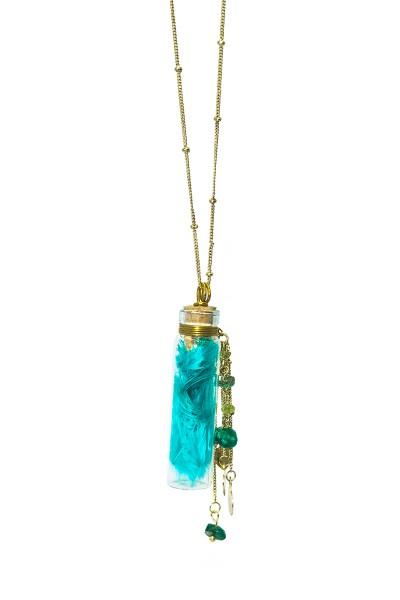 """Halskette """"Glasfläschchen"""", türkis mit Federn und Steinchen"""