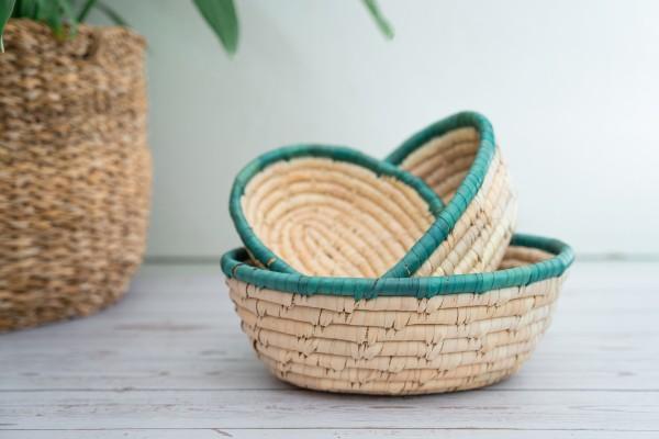 Palmblatt-Korb oval grün verschiedene Größen