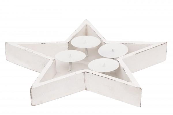 Adventskranz Stern, Holz weiß