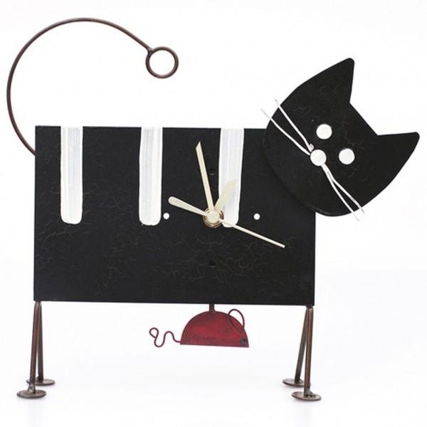 Standhuhr Katze und Maus, schwarz mit Streifen