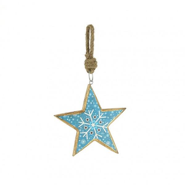 Dekoanhänger Stern blau, 16cm