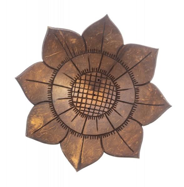 Räucherstäbchenhalter Lotus aus Kokosnuss