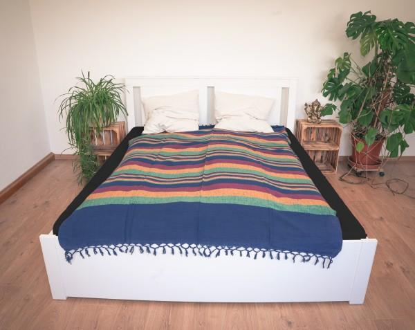 Tagesdecke / Tischdecke Baumwolle, blau