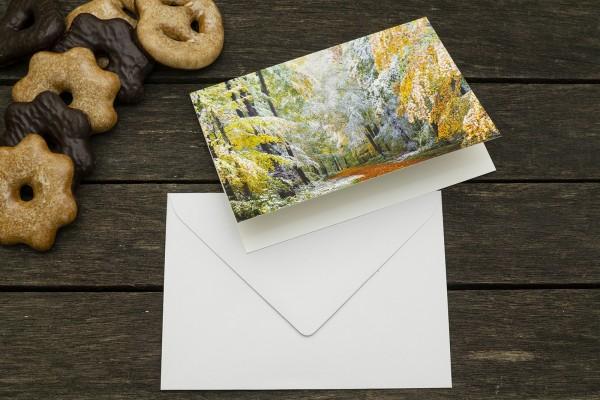 Weihnachtskarte Wintereinbruch mit Umschlag