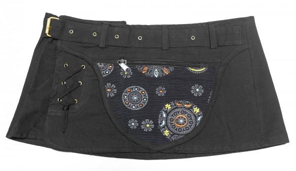 Goa Wickelrock schwarz mit Tasche