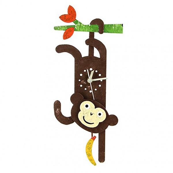Wanduhr Affe mit Ast und Bananen Pendel