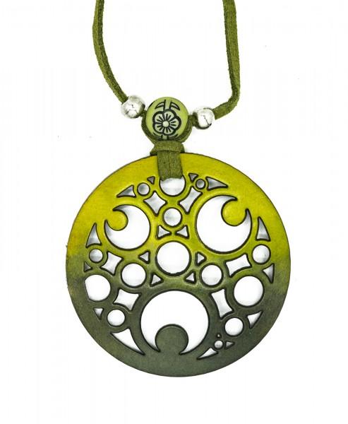 Halskette aus Baumkürbis, grün und Kreise