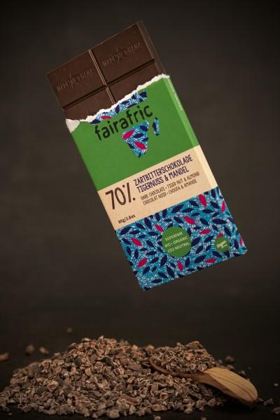 fairafric Bio Zartbitterschokolade Tigernuss Mandel 70% 80g