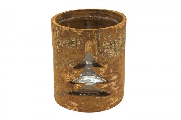 Teelichthalter aus Zimtrinde, Tanne rund