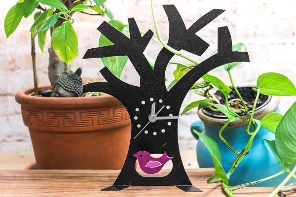 Standuhr Baum, schwarz mit Vögelchen