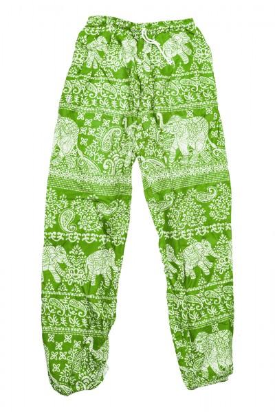 Stoffhose mit Elefantendruck, grün