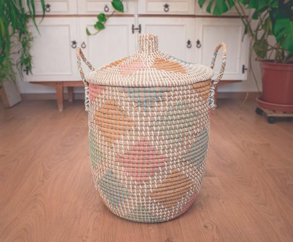 Wäschekorb Rhombs bunt, Seegras