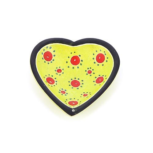 Räucherstäbchenhalter Herz, gelb-grün