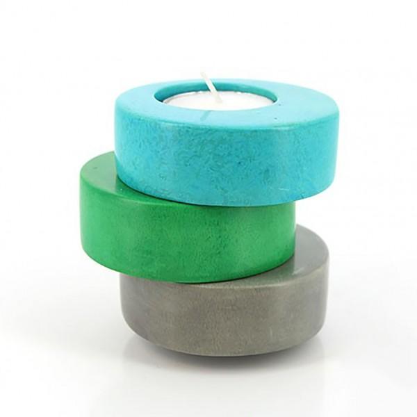 Teelichthalter 3er Set blau-grün-grau