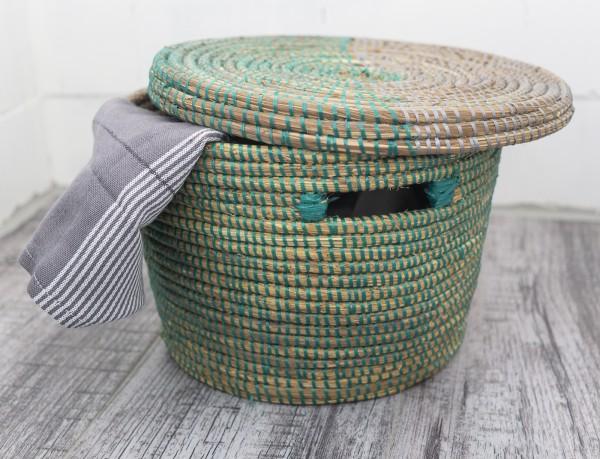 Aufbewahrungskorb klein grün silber