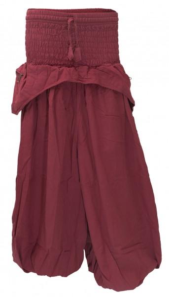 weite Haremshose Baumwolle mit Taschen rot