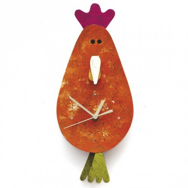 Wanduhr Huhn, orange