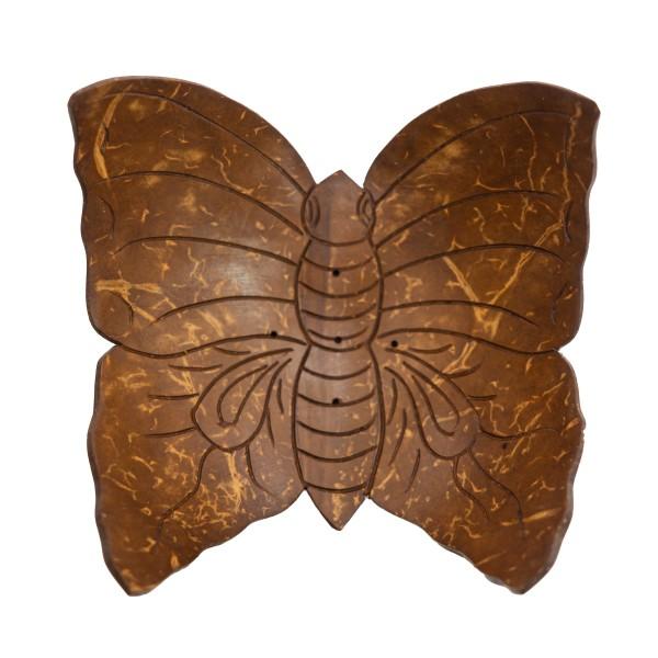 Räucherstäbchenhalter Schmetterling aus Kokosnuss
