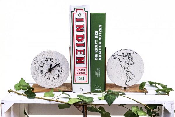 Buchstützen Set mit Uhr und Weltkugel