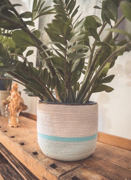 Korb aus Jute/Baumwolle, aqua