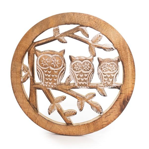 "Topf-Untersetzer Holz ""Owl Family"""