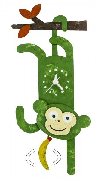 Kinderuhr Pendeluhr Affe grün