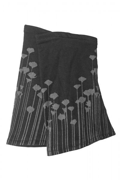 Stulpen aus Bio-Baumwolle floral schwarz